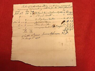 1781 Revolutionary War Document Signed By Captain James Robinson Connecticut