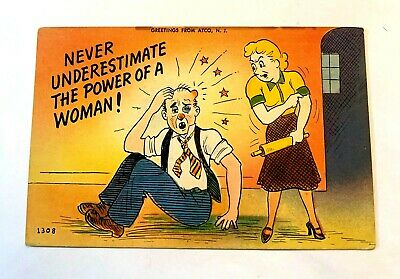 "Vintage 1930-40's Comic ""Never Underestimate The Power Of A Woman !"" PC 527"