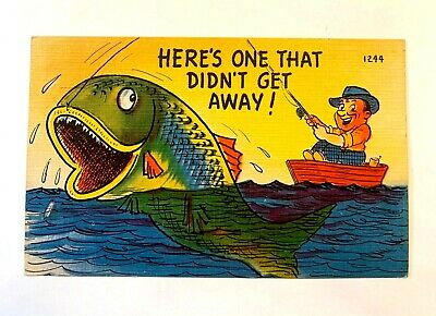 "Vintage 1930-40's Comic ""Here's ONE That DIDN'T Away !"" Linen PC 527"