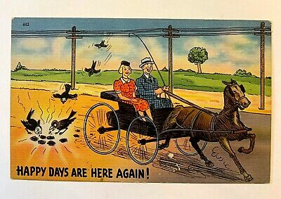 "Vintage 1930-40's Comic ""HAPPY DAYS ARE HERE AGAIN ! Linen Postcard 527"