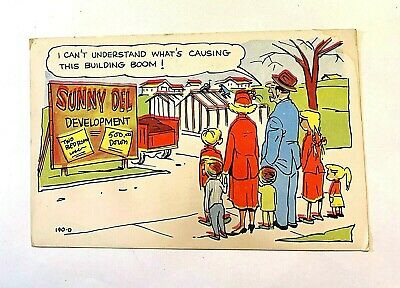 "Vintage 1950's Comic ""I Can't UNDERSTAND What's Causing this Building BOOM !"" PC"