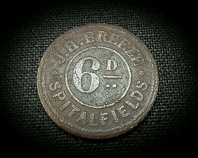 SCARCE J H BREEZE 6d TOKEN  - SPITALFIELDS MARKET POTATO & FRUIT SALESMAN 1870
