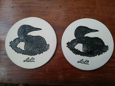Pair of Hand Crafted Loon Table/Drink Coasters
