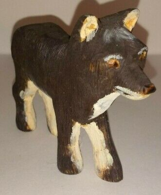 White & Brown Wooden Wolf Hand Carved & Painted Wood Folk Art signed John McKee