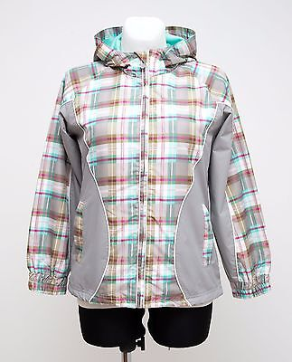 Girls Seppala Thin Jacket Hooded Grey Checked Size 15-16 Years Excellent