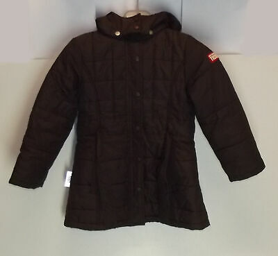 Girls Size 7Yrs/122 Cm Ticket To Heaven Zip Jacket Quilted Belted Brown Exclnt