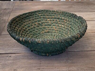Painted 19th C. Antique Primitive Coiled Rye Straw Footed Basket Penna. AAFA*