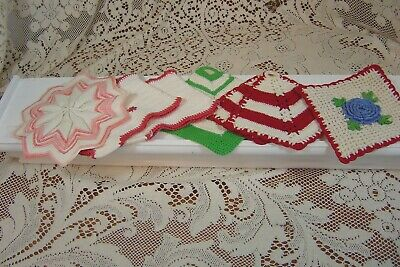 Vintage Lot Of 7 Handmade Crocheted Potholders