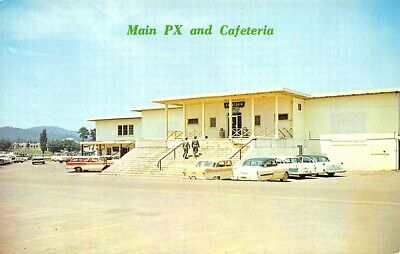 Anniston AL Fort McClellan Main Post Exchange 1950's Cars Postcard