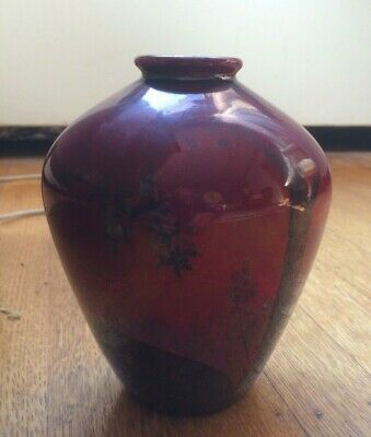 OLD  JAPANESE ( of CHINESE ) PORCELAIN    VASE   -- RED and Black Glazing