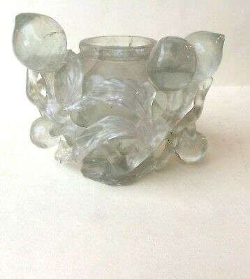 Large ANTIQUE Chinese  ROCK CRYSTAL   CARVED  SNUFF  BOTTLE  -