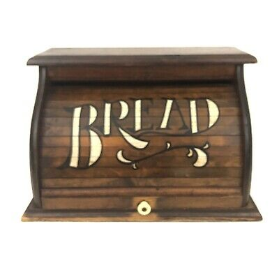 Vintage Wooden Roll Top Bread Box Country Farm Kitchen Rolling Wood Cover