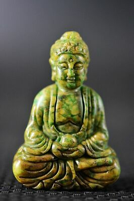 Unique Chinese Old Green Jade Carved *Buddha* Pendant/Statue C19
