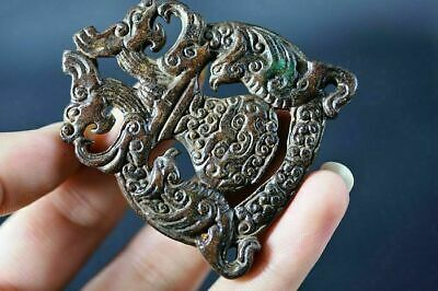 "Delicate China Old Jade Hand Carved ""Dragon/Phoenix"" Lucky Pendant C19"