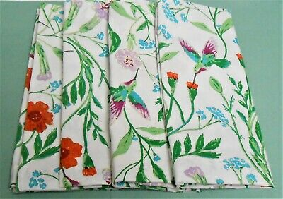"Kate Spade New York Set of 4 Cloth Napkins Hummingbird Floral 20"" x 20"""