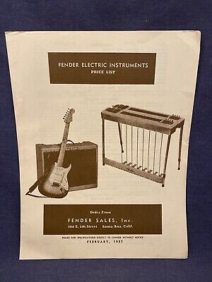 February 1957 Fender Electric Instruments Price List Reprint Guitar Telecaster