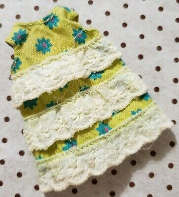 Barbie Doll Clothing Tutti Sea Shore Shorties #3614 Yellow Dress Only Vtg 1968