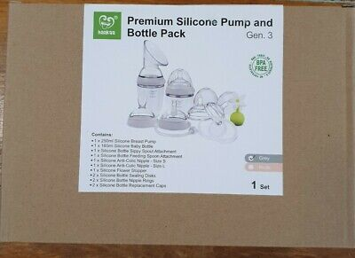 Haakaa silicone Pump & Bottle Pack Grey