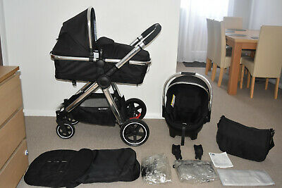 Full Travel System Mothercare Journey in Black - 4 Wheel  inc  Car Seat