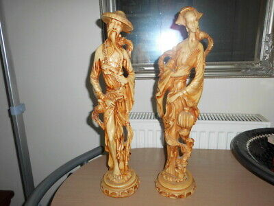 pair of 1 male and female oriental resin figures  heavy in weight good detail