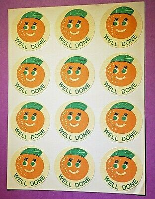 "CTP Scratch and Sniff 12 MATTE ORANGE Sticker ""WELL DONE"" VINTAGE Orig. Backing"