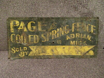 Vintage Page Coiled Spring Fence Advertising Tin Sign Adrian Michigan