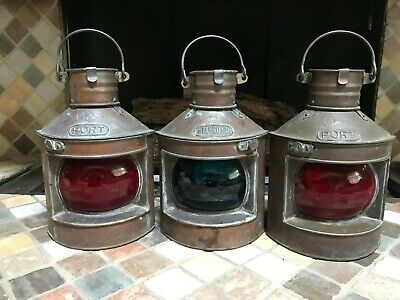 3~Tung Woo~Oil Lanterns~1 Blue Starboard~2 Red Port~Copper!
