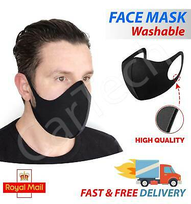 Anti Virus Face Mask Reusable Washable Protective Cover Black Fabric