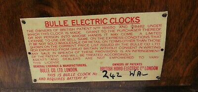 Vintage Bulle Electric Clock . Spares Or Repair .