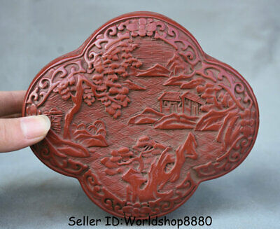"6"" Marked Old Chinese Red Lacquerware Dynasty landscape Jewelry box jewel case"
