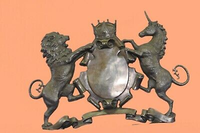 Crown Shield Bronze Wall Plaque Hand Made Great Detailed Artwork Home Figurine