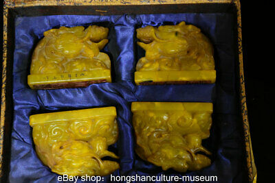 "5.6"" Old Tianhuang Shoushan Stone Carved Dragon Head Seal Signet Set certificate"