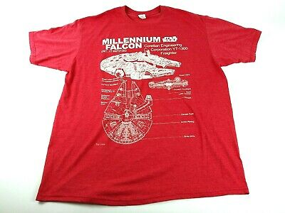 Star Wars Mens XXL Red Logo Spell Out Millennium Falcon Graphic T Shirt EUC