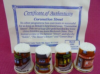Featuring Coronation St  A Set of 4 Decorative  thimbles with Certificate 1995