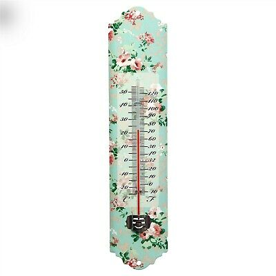 Victorian Trading Co Bouquet of Roses Thermometer Aqua Pink