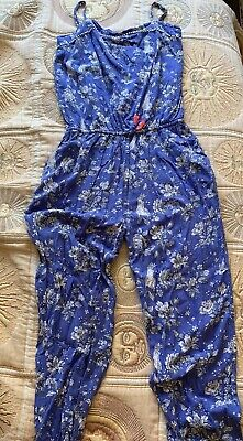 Boden Johnnie B Girls Age 16 Years Summer Jumpsuit Blue Floral - See Descip