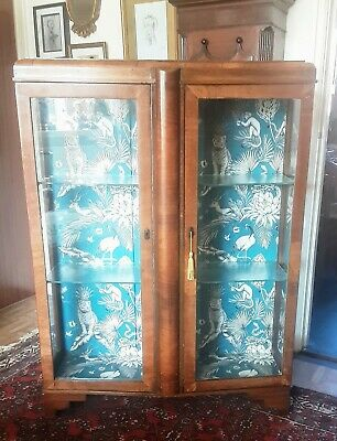 Beautiful Art deco walnut  and Glass display cabinet