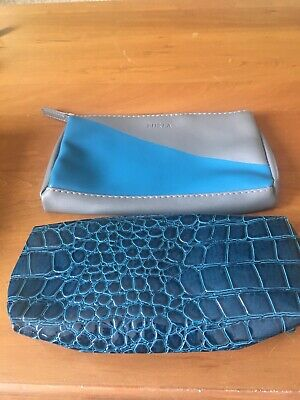2 Pc Makeup Bag Furla+ Estee Lauder Blue EUC