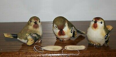 Set of 3 Resin Bird Figurines by Tii Collections - Beautiful!!