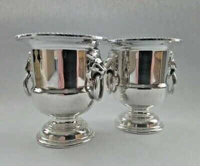 2 Vintage Viners Silver Plated Lion Head Urn/ Champagne Bucket Toothpick Holders
