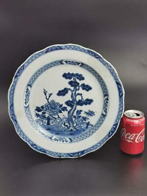 Blue and white Chinese charger with garden landscape pattern 18th century