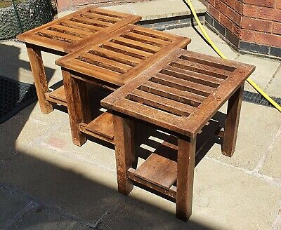 3 Antique Luggage Stands-solid oak