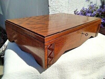 LARGE ANTIQUE VINTAGE WOODEN CUTLERY CANTEEN STORAGE BOX with KEY