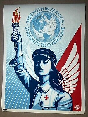 OBEY ANGEL OF HOPE AND STRENGTH Shepard Fairey In hand signed Limited Edition