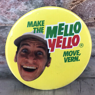 Vintage 80s MELLO YELLO Make The Move, Vern Button  pin Promotional Item