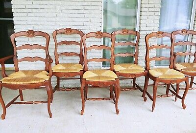 Set of 6 Antique Rush seat Chairs French Louis XV style
