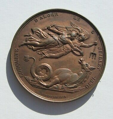 Capture of Algiers by France bronze medal 1830 41 mm