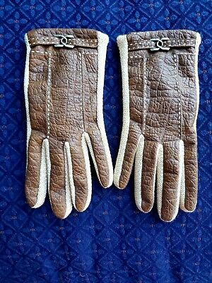 Vintage ARIS NOVA KID LEATHER & Knit Soft LINED GLOVES Lg. Top stitch & buckles