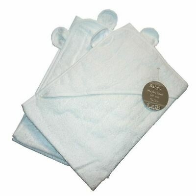 2 x Hooded Towel Childrens Cuddle Robe Towel Plain White with Ears 75 x 75 cm