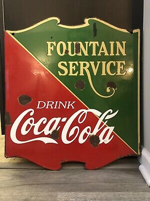 "1935 Coca Cola ""Fountain Service"" Porcelain Shield Double Sided Sign 23x26"